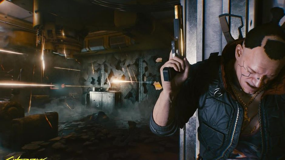 Protagonist of Cyberpunk 2077 standing behind a corner
