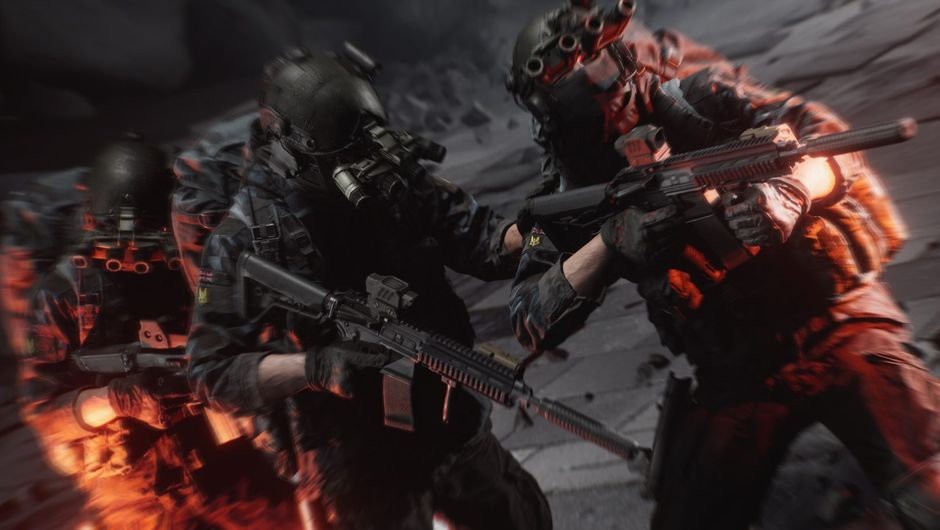 Picture of several soldiers during a firefight situation