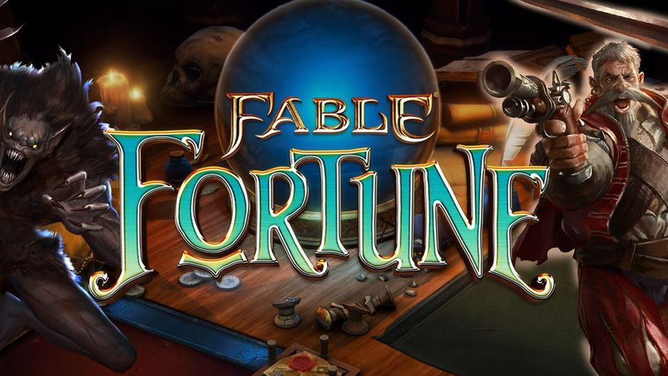 Fable Fortune logo with a werewolf on one side and a gray bearded man on the other