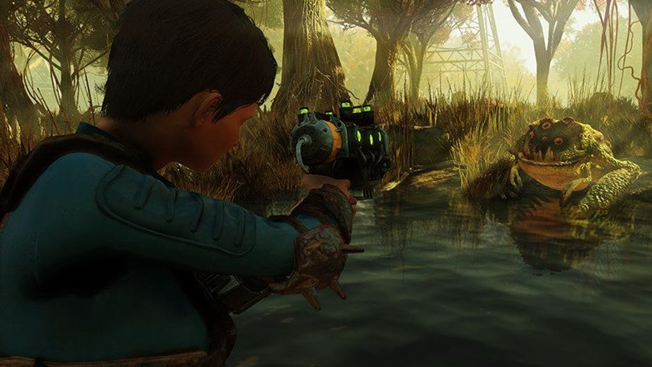 Picture of a female character shooting a frog in Fallout 76