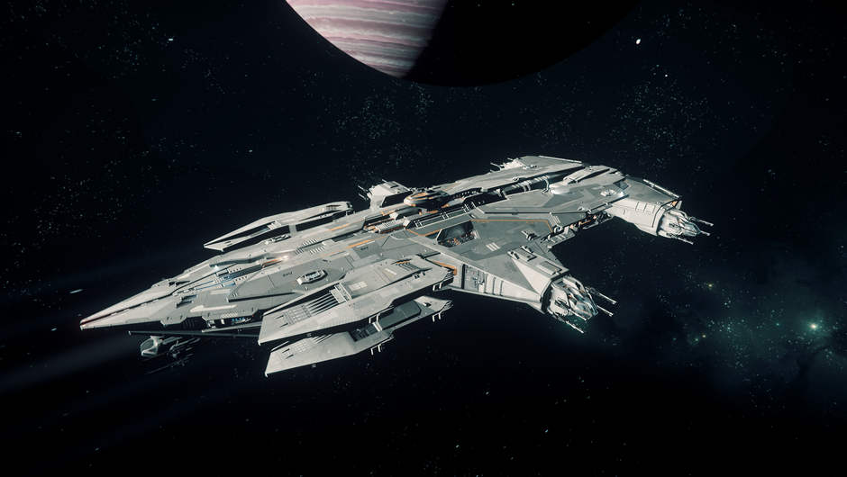 An assault ship in the space simulator Star Citizen