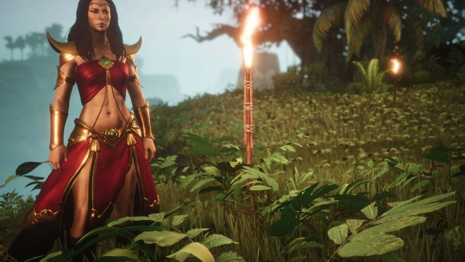 Some belly dancer is attempting to survive in a lush area in Exiled Lands