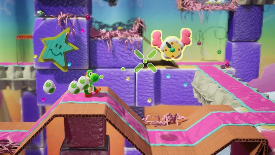 Screenshot from Yoshi's Crafted World platformer