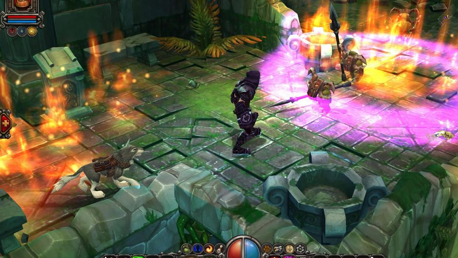 Torchlight character attacking a dungeon creature