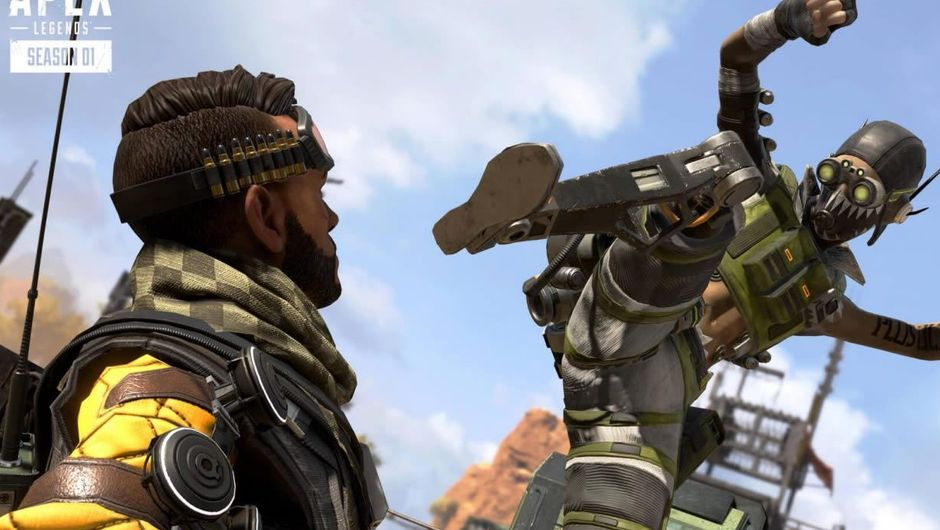 Apex Legends characters Octane and Mirage fighting