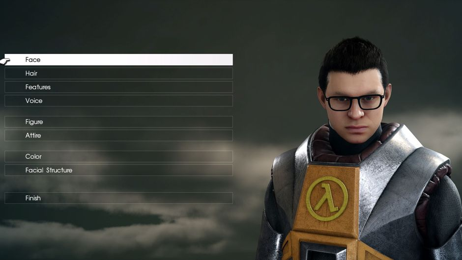 A close-up of a character from Final Fantasy XV in Gordon Freeman's suit from Half Life
