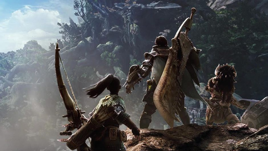 Three characters with large weaponry standing on a cliff