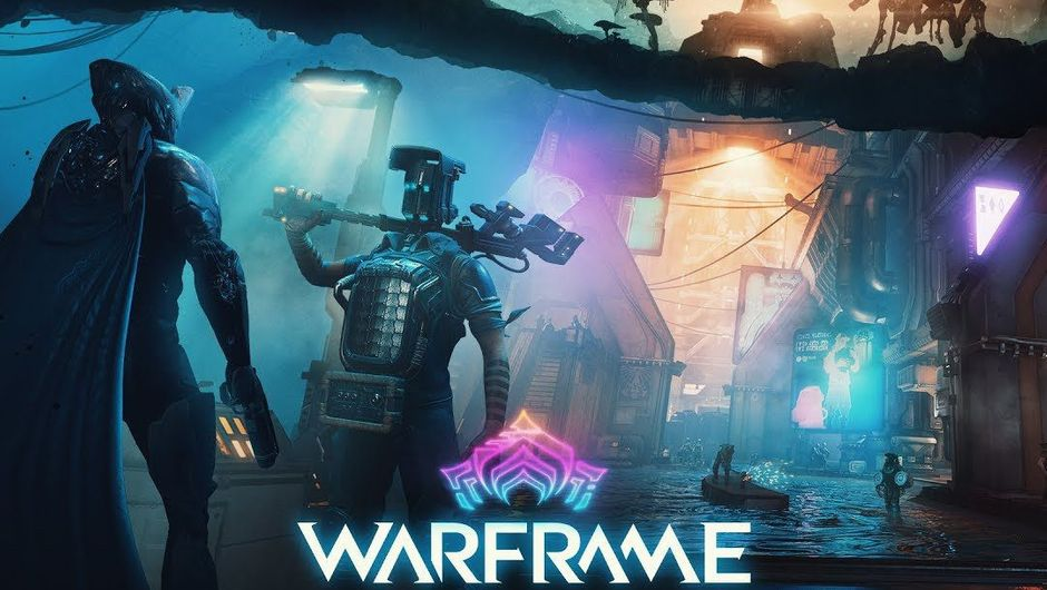 Picture of a Tenno meeting a Corpus person on promotional poster for Warframe Fortuna