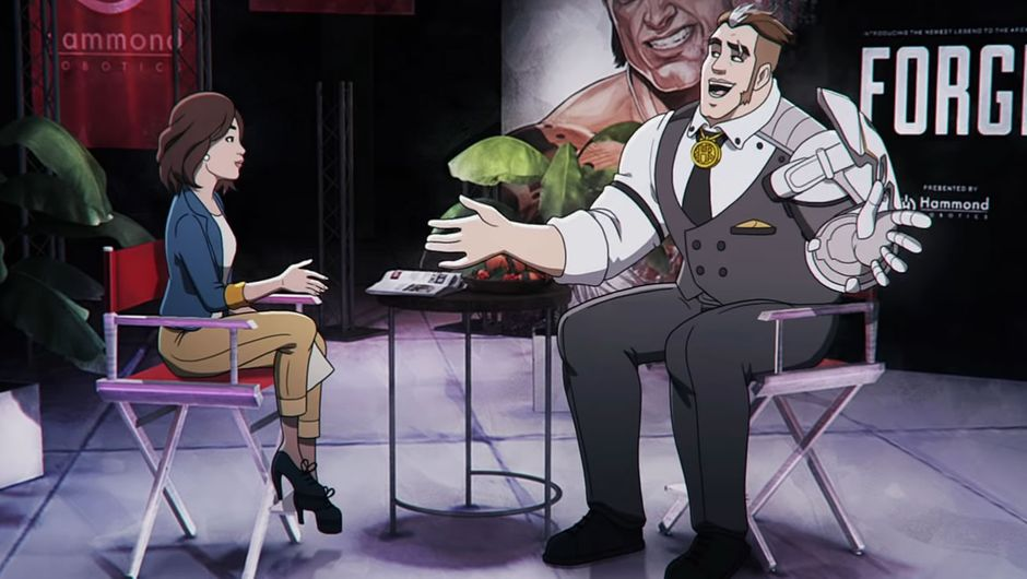 Apex Legends animated character in a talk show