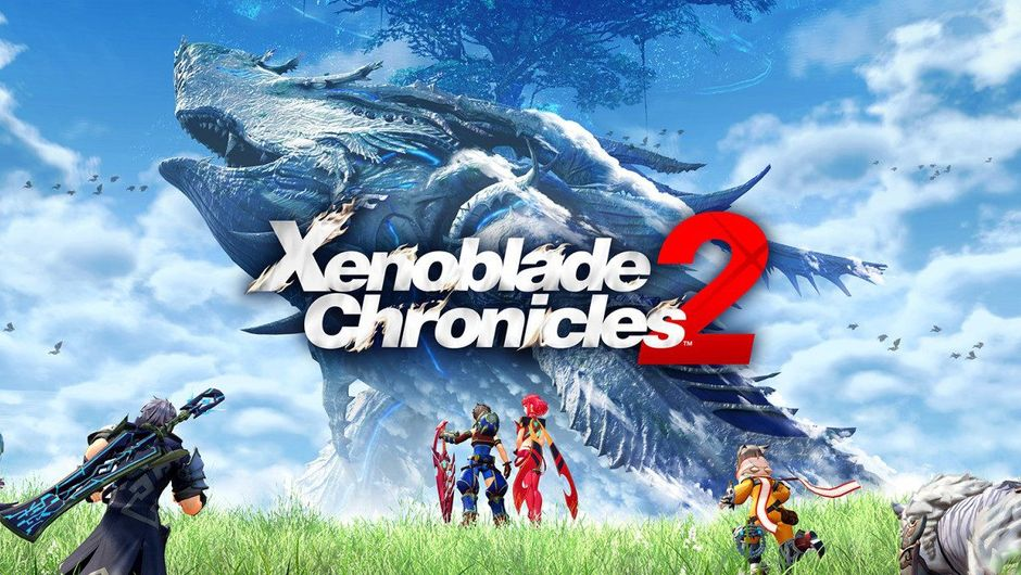 Xenoblade Chronicles promotional poster shows some anime people running towards a giant monster