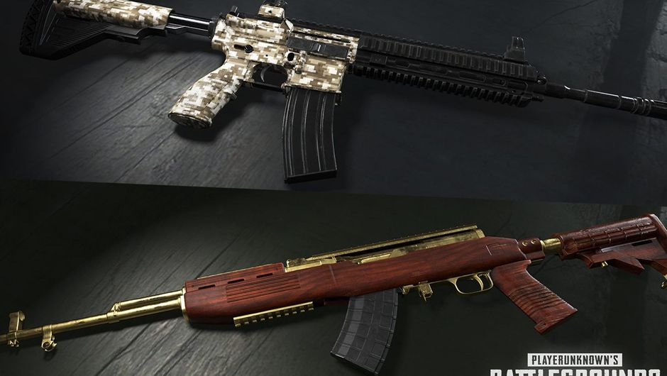 PUBG desert digital m416 and gold plated SKS skins.