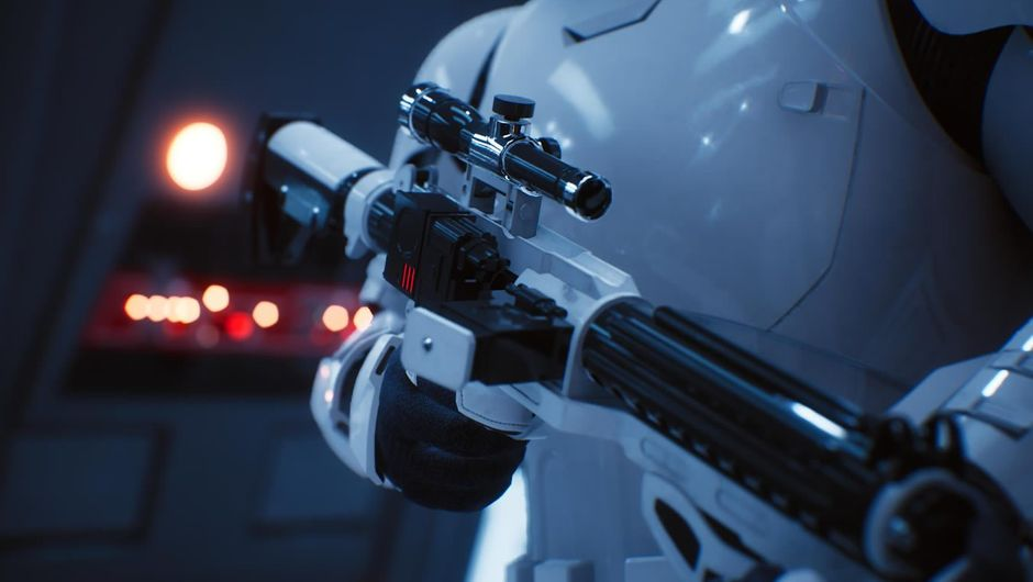Shiny plastic armour and gun demonstrating power of Unreal Engine 4.20