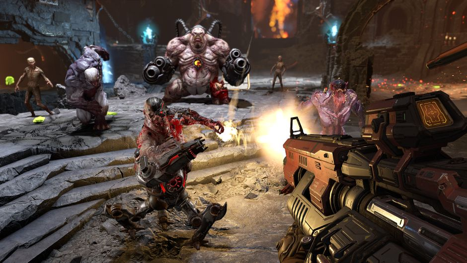 The Doom Slayer shooting multiple demons in Doom Eternal's single player campaign