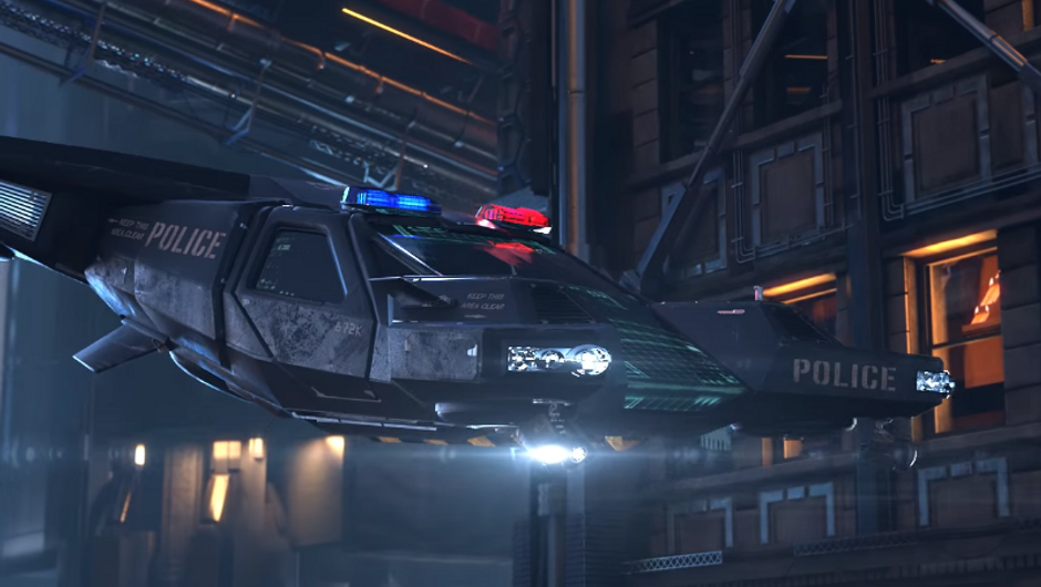 A flying police car in Cyberpunk 2077