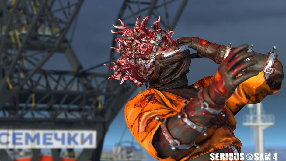 Mutating man in orange clothes from Serious Sam 4: Planet Badass