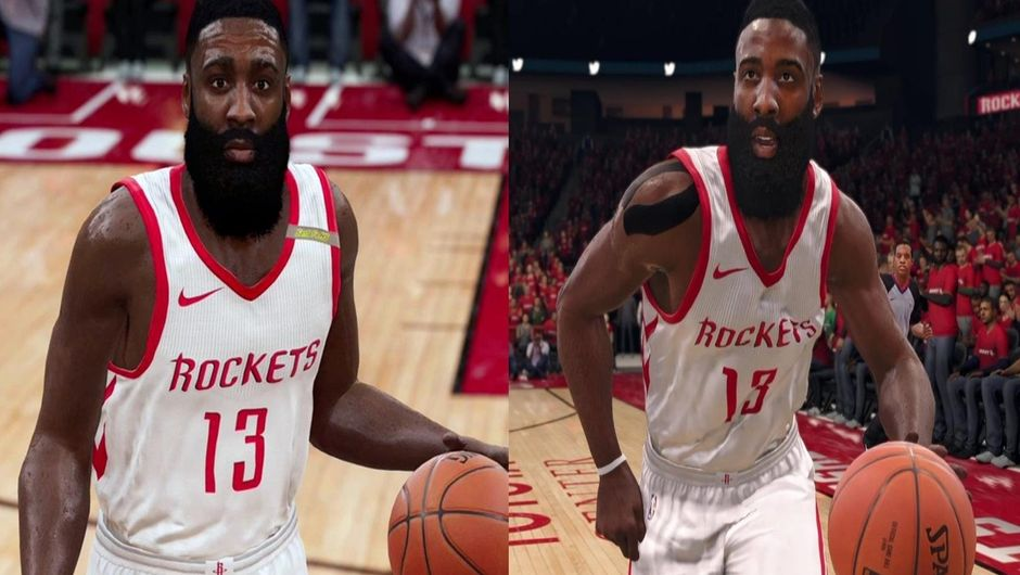 Screenshot of James Harden in NBA Live 19 and NBA Live 18, wearing a Houston Rockets jersey on both pictures.