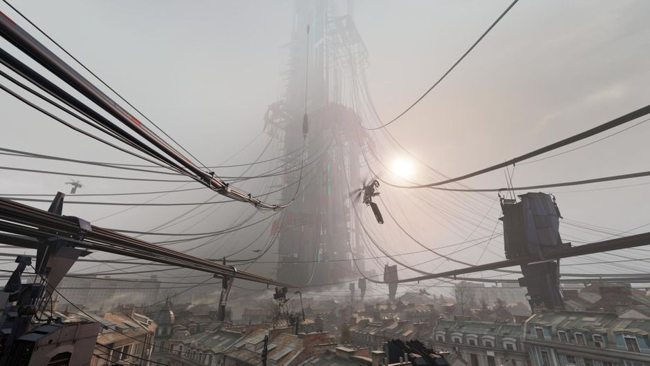 A building on a misty day in Half-Life: Alyx
