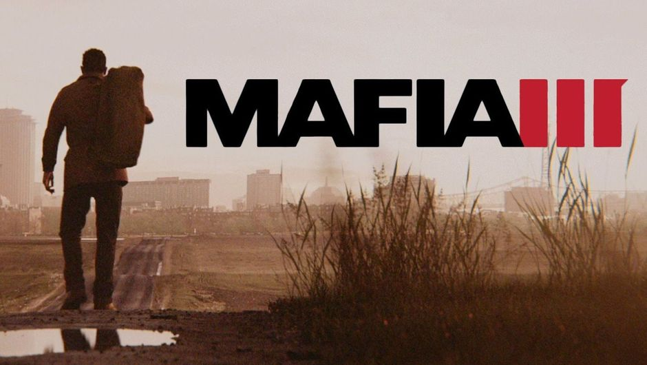 Mafia 3 poster depicting its protagonist walking toward a city in a depressive brown colour palette.