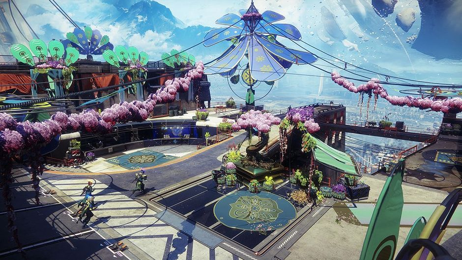 screenshot from Destiny 2 showing spring-themed tower hub