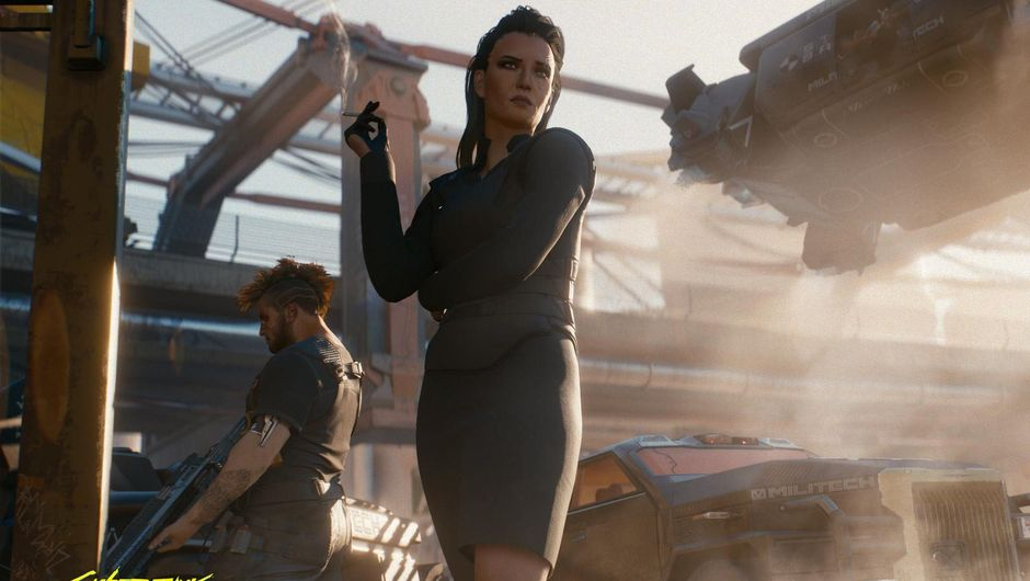 Picture of a woman in a suit smoking a cigarette in Cyberpunk 2077