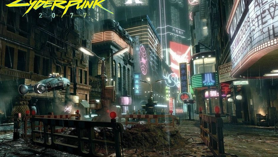 A picture of Night City's streets from Cyberpunk 2077.