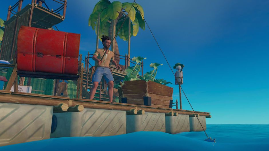 A man fishing from a lavish raft in the ocean survival game Raft