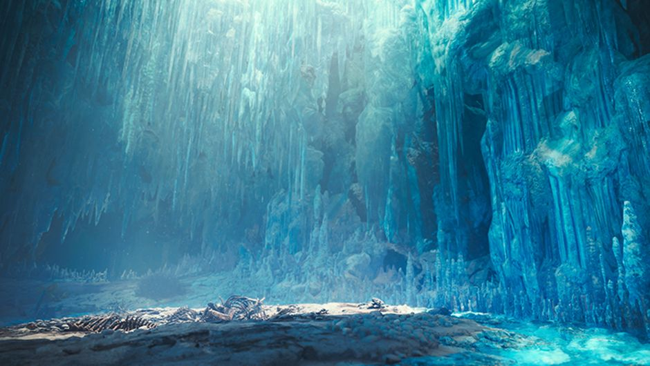 MHW: Iceborne screenshot showing icy cave