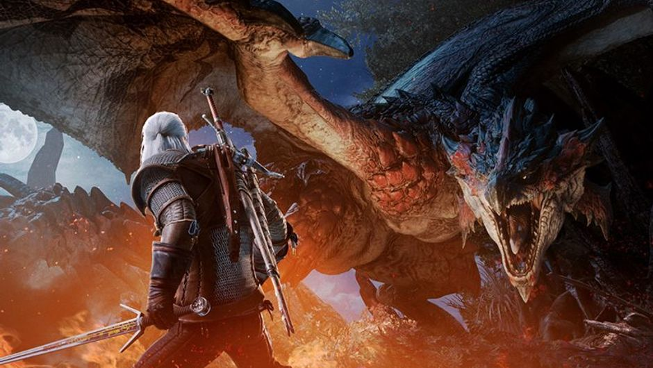 picture showing geralt and monster