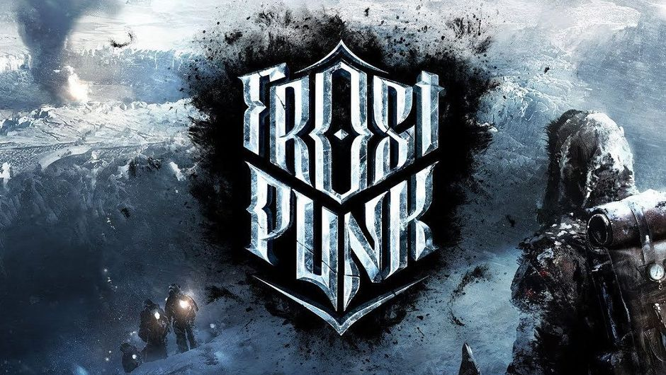 Promotional image for Frostpunk in icy colour scheme with the title written in front on a black emblem.