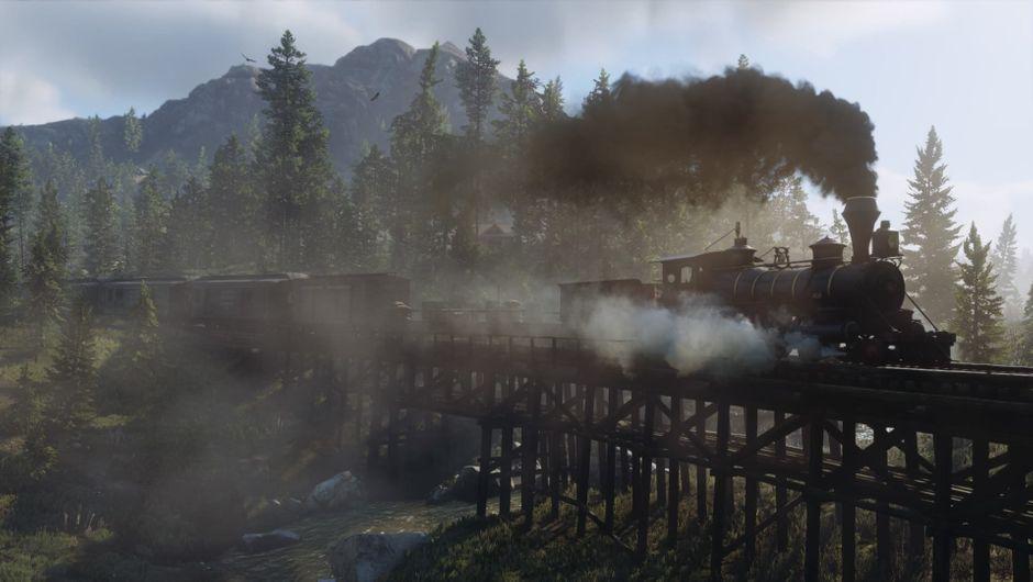 Train crossing a wooden bridge.