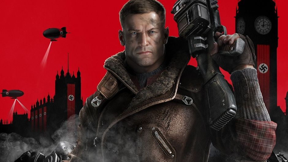 B.J. Blazkowicz holding a big gun on his shoulder, looking towards the camera
