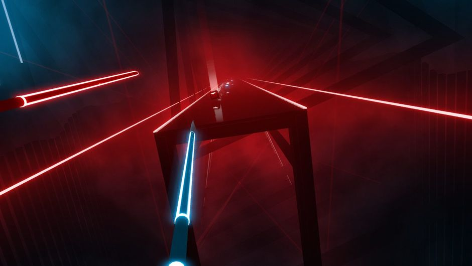 Screenshot from Beat Saber rhythm game