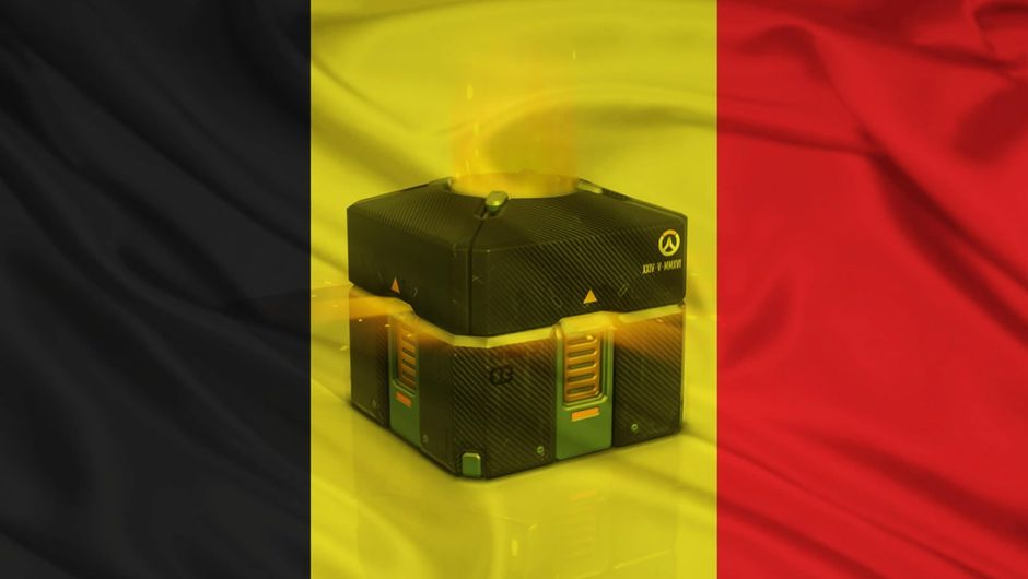 Loot box from Overwatch on the Belgian flag