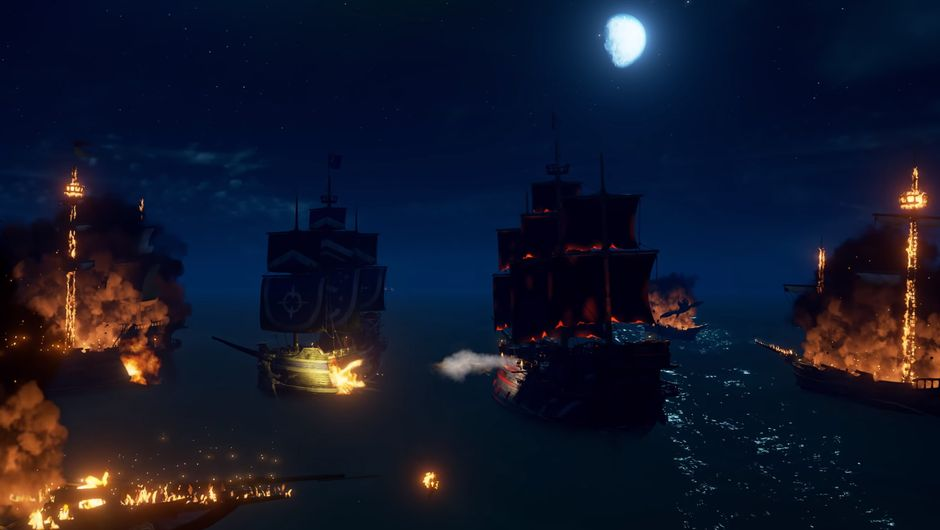 Sea of Thieves screenshot showing sea battle during night