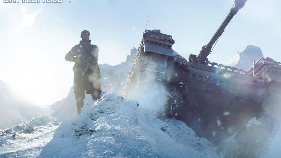 A Battlefield V tank plowing through snow with a soldier next to it
