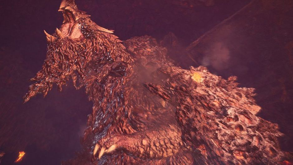 monster hunter world screenshot showing lava monster