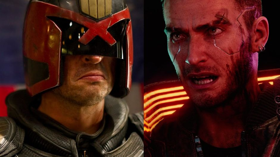artwork showing a shot from dredd movie and a screenshot from cyberpunk 2077