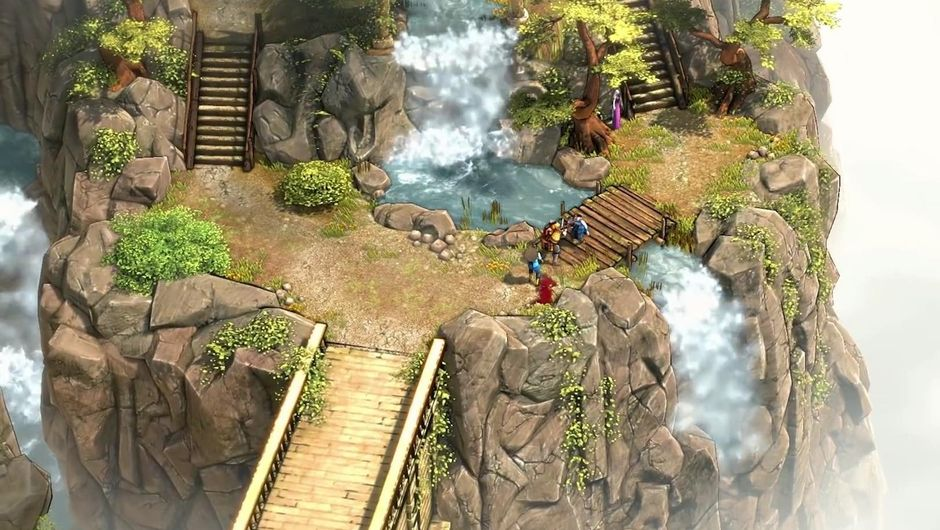 Screenshot of a waterfall area in the game.