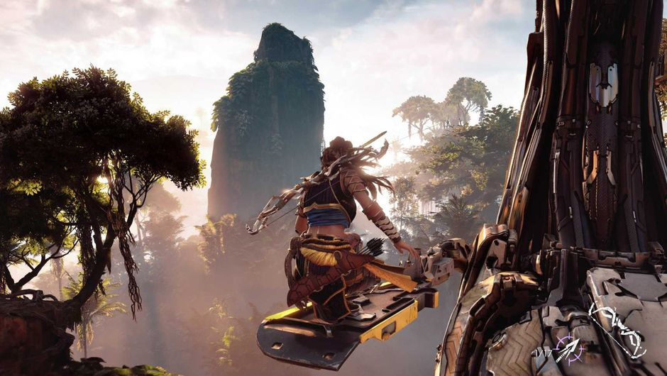 Aloy is surfing on her hoverboard through the forest