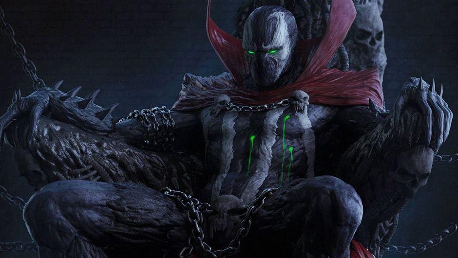 artwork showing superhero spawn sitting on a throne