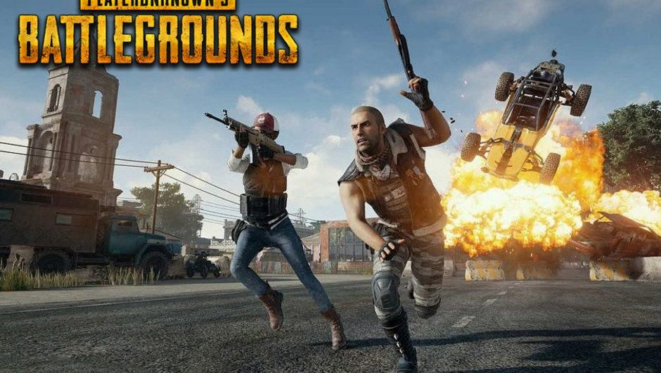 Two players are running away from an explosion in PUBG.