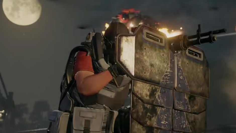 A man shooting from behind a tactical shield in Just Cause 4