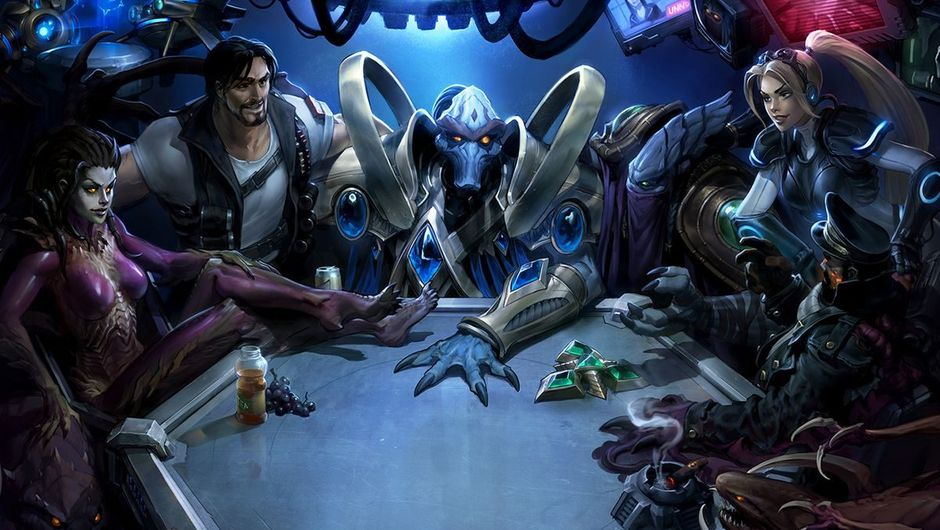 various characters from starcraft sitting around a table