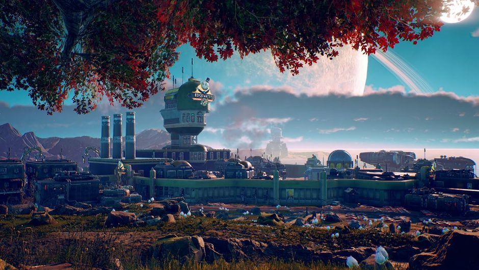 Outer Worlds screenshot showing a city