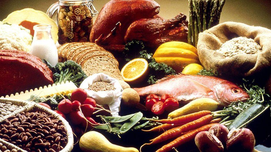 Various grains and fish