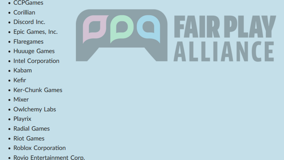 A list of more than a dozen game companies in Fair Play Alliance
