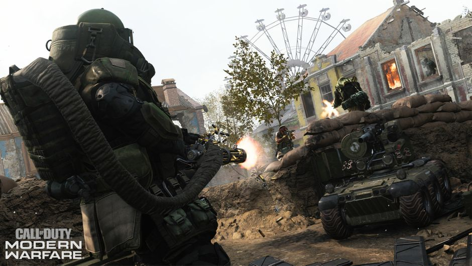 A Juggernaut player with a minigun in Call of Duty: Modern Warfare multiplayer.