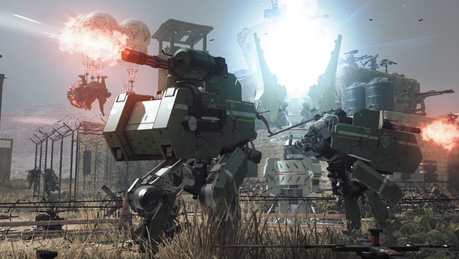 Two large robot like vehicles firing cannons at objects outside of view
