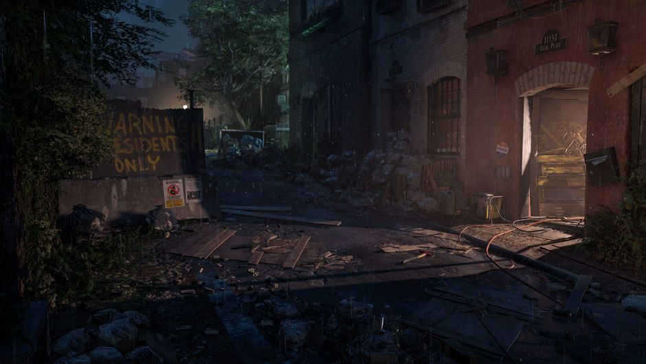 Screenshot of a dark alley in The Division 2