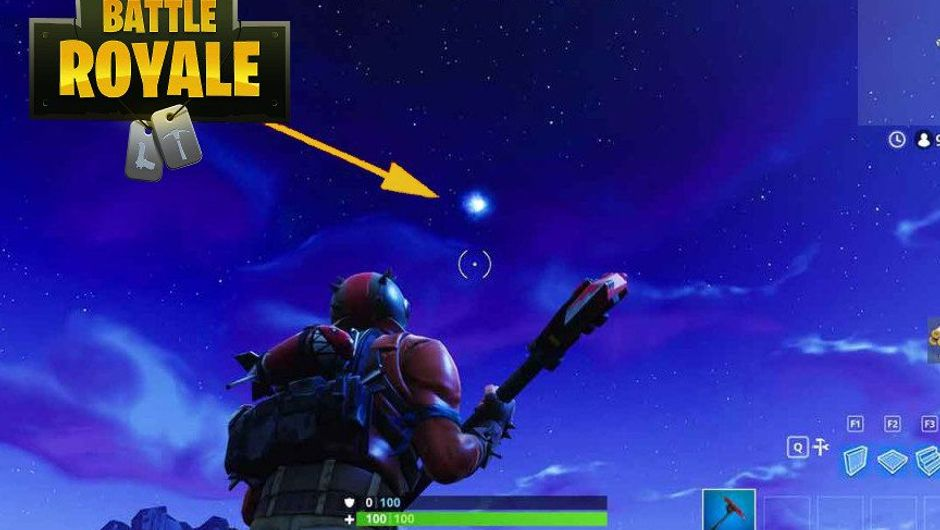 Player is looking up in the sky at the comet in Fortnite Battle Royale.
